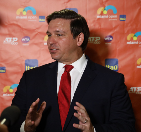 MIAMI GARDENS, FLORIDA - MARCH 27, 2019:  Florida Governor Ron DeSantis visits 2019 Miami Open at the Hard Rock Stadium in Miami Gardens, Florida