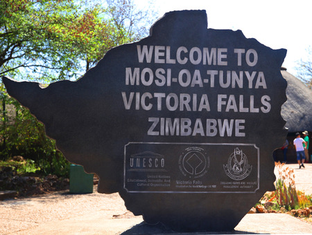 HWANGE, ZIMBABWE - OCTOBER 3, 2018: The Victoria Falls National Park entrance on the Zimbabwe side. Located at south and east bank of the Zambezi River in the area of the world-famous Victoria Falls