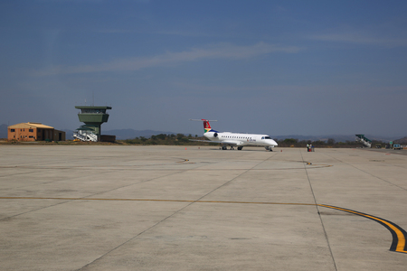 MPUMALANGA, SOUTH AFRICA - OCTOBER 2, 2018: AirLink jet on tarmac at Kruger Mpumalanga International Airport in South Africa. Airlink is a regional airline based in Johannesburg, South Africa