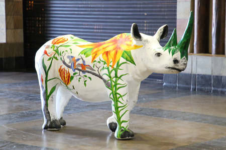 MPUMALANGA, SOUTH AFRICA - OCTOBER 2, 2018: Painted rhino inside of the Kruger Mpumalanga International Airport in South Africa. Editorial