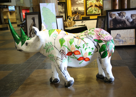 MPUMALANGA, SOUTH AFRICA - OCTOBER 2, 2018: Painted rhino inside of the Kruger Mpumalanga International Airport in South Africa.
