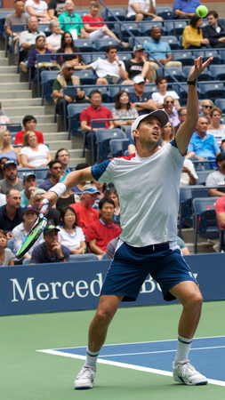 NEW YORK - SEPTEMBER 7, 2018: 2018 US Open men' doubles champion Mike Bryan of United States in action during final match at the Billie Jean King National Tennis Center Editöryel