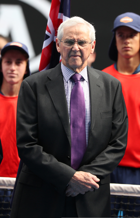 MELBOURNE, AUSTRALIA - JANUARY 27, 2019: Grand Slam champion Roy Emerson of Australia during trophy presentation after 2019 Australian Open mens doubles final match at Rod Laver Arena