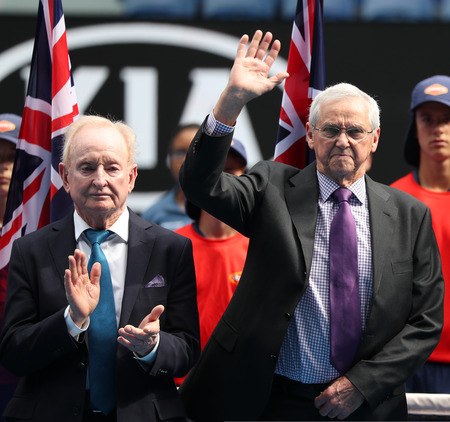 MELBOURNE, AUSTRALIA - JANUARY 27, 2019: Grand Slam champions Roy Emerson and Rod Laver of Australia during trophy presentation after 2019 Australian Open mens doubles final match at Rod Laver Arena