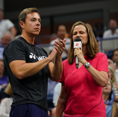 NEW YORK - SEPTEMBER 6, 2018: Sascha Bajin, coach of Grand Slam champion Naomi Osaka of Japan, after her 2018 US Open semifinal match at Billie Jean King National Tennis Center