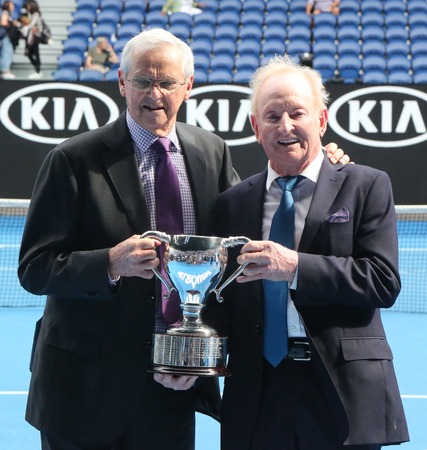 MELBOURNE, AUSTRALIA - JANUARY 27, 2019: Grand Slam champions Roy Emerson and Rod Laver of Australia during trophy presentation after 2019 Australian Open men's doubles final match at Rod Laver Arena