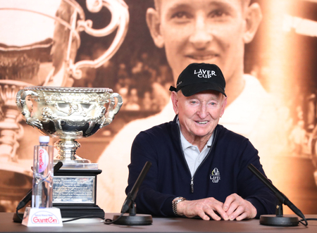 MELBOURNE, AUSTRALIA - JANUARY 23, 2019: Grand Slam champion Rod Laver addresses a press conference at the 2019 Australian Open tennis championships in Melbourne.