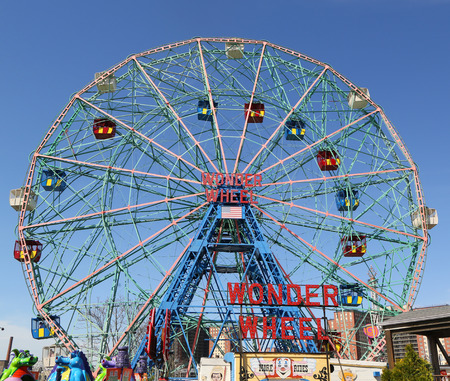 BROOKLYN, NEW YORK - APRIL 23, 2019: Wonder Wheel at the Coney Island amusement park. Deno's Wonder Wheel a hundred and fifty foot eccentric Ferris wheel. This wheel was built in 1920