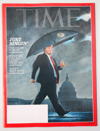 BROOKLYN, NEW YORK - MAY 5, 2019: President Donald Trump appears on the cover of the TIME magazine, under the headline: