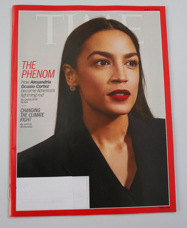BROOKLYN, NEW YORK - MAY 5, 2019: Congresswoman Alexandria Ocasio-Cortez appears on the cover of the TIME magazine, under the headline: