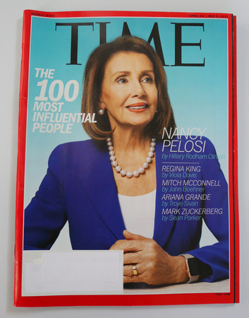 BROOKLYN, NEW YORK - MAY 5, 2019: House Speaker Nancy Pelosi featured on the cover of Times annual 100 Most Influential People in the World  issue.