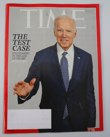 BROOKLYN, NEW YORK - MAY 5, 2019: Vice President Joe Biden appears on the cover of the TIME magazine cover, under the headline: