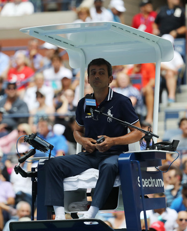 NEW YORK - SEPTEMBER 1, 2018: Chair umpire Carlos Ramos of Portugal during 2018 US Open round of 16 match between Rafael Nadal and Nikoloz Basilashvili at Billie Jean King National Tennis Center