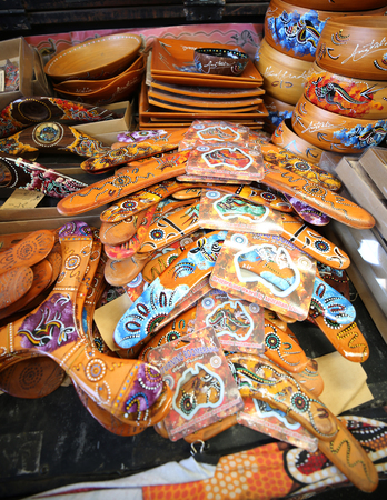 MELBOURNE, AUSTRALIA - JANUARY 24, 2019: Australian souvenirs on display at the Queen Victoria Market in Melbourne. It is a major landmark and the largest open air market in the Southern Hemisphere