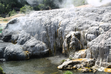 Steam Geysers in Te Puia National Park, Rotorua, New Zealand. Imagens