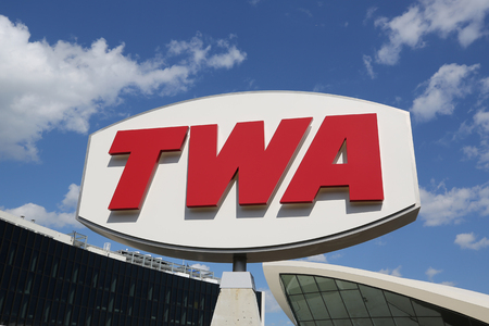 NEW YORK- MAY 16, 2019: TWA Hotel opened at the landmark TWA Flight Center building designed by Eero Saarinen at the John F. Kennedy International Airport (JFK) in New York Редакционное