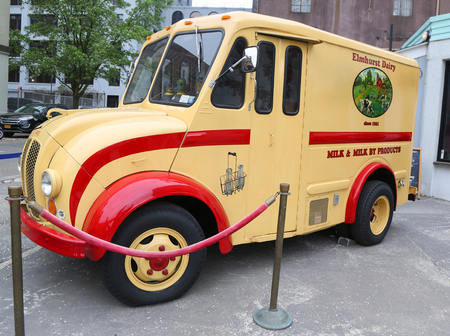 BROOKLYN, NEW YORK - MAY 2, 2019: Vintage Elmhurst Dairy DIVCO delivery truck in Brooklyn Bridge Park.