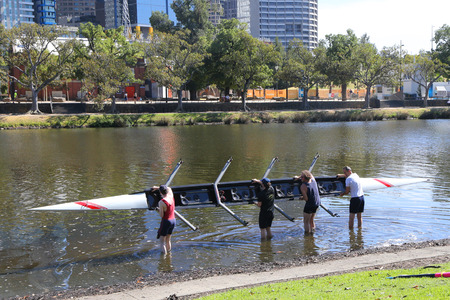 MELBOURNE, AUSTRALIA - JANUARY 28, 2019: Rowing team heads to Yarra River for training in Melbourne, Australia