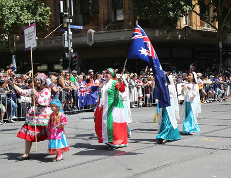 MELBOURNE, AUSTRALIA - JANUARY 26, 2019: Australian Iranian Youth Society of Victoria members participate at the 2019 Australia Day Parade in Melbourne