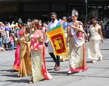MELBOURNE, AUSTRALIA - JANUARY 26, 2019: Sinhala Cultural Foundation members participate at the 2019 Australia Day Parade in Melbourne