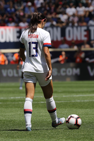 HARRISON, NJ - MAY 26, 2019: U.S. Womens National Soccer Team captain Alex Morgan #13 in action during friendly game against Mexico as preparation for 2019 Womens World Cup on Red Bull Arena Editorial