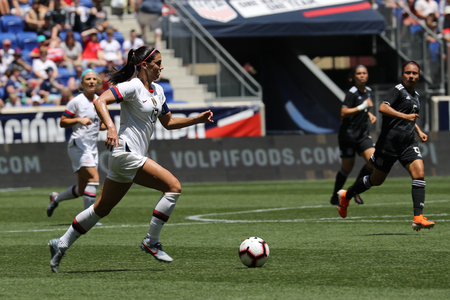 HARRISON, NJ - MAY 26, 2019: U.S. Womens National Soccer Team captain Alex Morgan #13 in action during friendly game against Mexico as preparation for 2019 Womens World Cup on Red Bull Arena Redakční