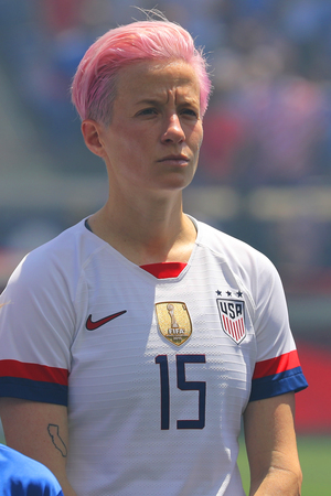 HARRISON, NJ - MAY 26, 2019: U.S. Womens National Soccer Team forward Megan Rapinoe #15 during National Anthem before friendly game against Mexico as preparation for 2019 Womens World Cup Redakční