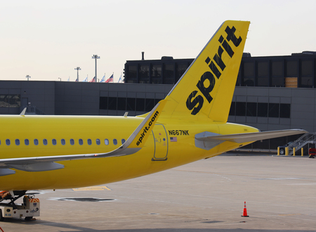 CHICAGO, ILLINOIS - MAY 24, 2019: Spirit Airlines Airbus A320 on tarmac at OHare International Airport in Chicago Редакционное