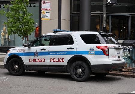 CHICAGO, ILLINOIS - 24 MAGGIO 2019: Automobile del dipartimento di polizia di Chicago nel centro di Chicago