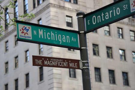 CHICAGO, ILLINOIS - MAY 24, 2019: The Magnificent Mile sign in Chicago, Illinois