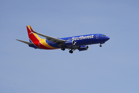 NEWARK, NEW JERSEY - MAY 26, 2019: Southwest Airlines Boeing 737 descending for landing at Newark Liberty International Airport in New Jersey Stock Photo - 124911521