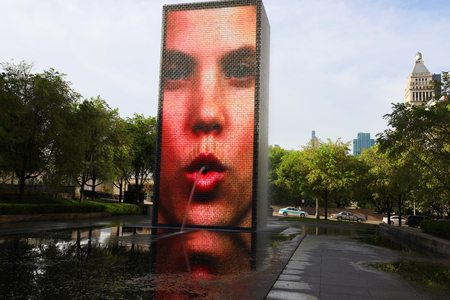 CHICAGO, ILLINOIS - MAY 23, 2019: Crown fountain in Chicago, Illinois. Crown Fountain is an interactive work of public art and video sculpture by Jaume Plensa featured in Chicago's Millennium Park