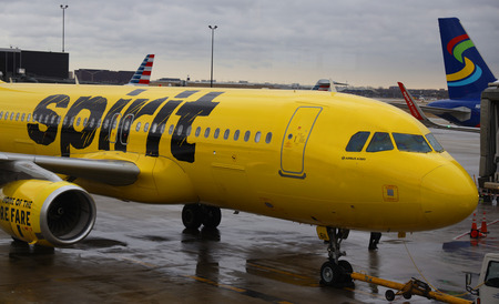 CHICAGO, ILLINOIS - MARCH 14, 2019: Spirit Airlines Airbus A320 on tarmac at O'Hare International Airport in Chicago