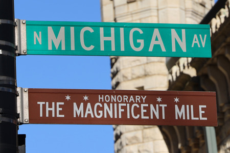 The Magnificent Mile sign in Chicago, Illinois