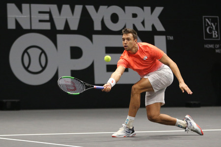 UNIONDALE, NEW YORK - FEBRUARY 17, 2019: 2019 New York Open doubles champion Andreas Mies of Germany in action during final match in Uniondale, New York Stok Fotoğraf - 124911589