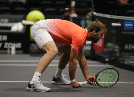 UNIONDALE, NEW YORK - FEBRUARY 17, 2019: 2019 New York Open doubles champion Kevin Krawietz of Germany in action during final match in Uniondale, New York Stok Fotoğraf - 125633065