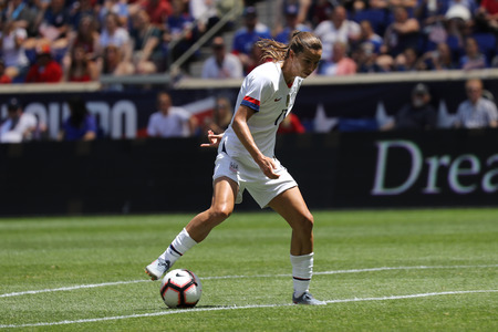 HARRISON, NJ - MAY 26, 2019: U.S. Womens National Soccer Team forward Tobin Heath #17 in action during friendly game against Mexico as preparation for 2019 Womens World Cup in Harrison, NJ