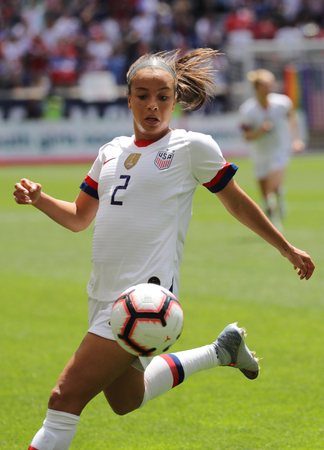 HARRISON, NJ - MAY 26, 2019: U.S. Womens National Soccer Team forward Mallory Pugh #2 in action during friendly game against Mexico as preparation for 2019 Womens World Cup in Harrison, NJ