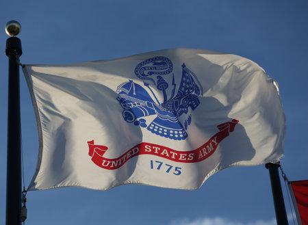 BROOKLYN, NEW YORK - FEBRUARY 14, 2019: Flag of the United States Army in Brooklyn, New York