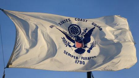 BROOKLYN, NEW YORK - FEBRUARY 14, 2019: Flag of the United States Coast Guard in Brooklyn, New York 報道画像