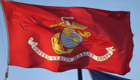 BROOKLYN, NEW YORK - FEBRUARY 14, 2019: Flag of the United States Marine Corps in Brooklyn, New York