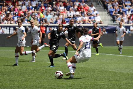 HARRISON, NJ - MAY 26, 2019: U.S. Women's National Soccer Team forward Christen Press #23 in action during friendly game against Mexico as preparation for 2019 Women's World Cup in Harrison, NJ