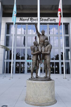 MIAMI GARDENS, FLORIDA - MARCH 27, 2019:  Statue of former NFL coach Don Shula in front of Hard Rock Stadium in Miami Gardens, Florida