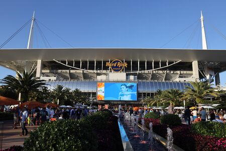 MIAMI GARDENS, FLORIDA - MARCH 27, 2019: Hard Rock Stadium during 2019 Miami Open in Miami Gardens, Florida