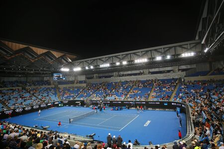MELBOURNE, AUSTRALIA - JANUARY 22, 2019: Margaret Court arena during 2019 Australian Open match at Australian tennis center in Melbourne Park. Éditoriale