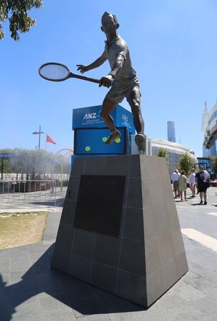 MELBOURNE, AUSTRALIA - JANUARY 22, 2019: Rod Laver statue in front of Rod Laver arena at Australian tennis center in Melbourne Park. It is the main venue for the Australian Open since 1988 Editöryel