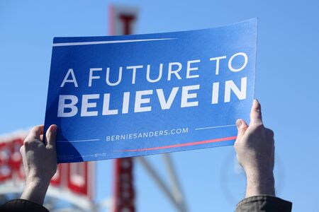 NEW YORK - APRIL 10, 2016: A sign in support of presidential candidate Bernie Sanders during Bernie Sanders rally at Coney Island in Brooklyn, New York