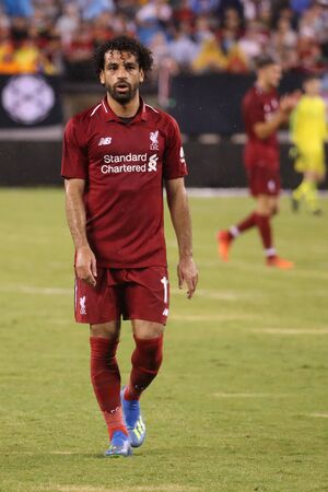 EAST RUTHERFORD, NJ - JULY 25, 2018: Mohamed Salah #11of Liverpool FC in action against Manchester City during 2018 International Champions Cup game at MetLife stadium. Editorial