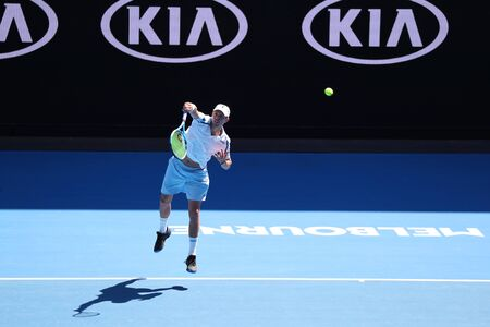 MELBOURNE, AUSTRALIA - JANUARY 23, 2019: Grand Slam champion Mike Bryan of United States in action during quarterfinal match at 2019 Australian Open in Melbourne Park
