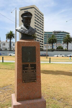 ST KILDA, AUSTRALIA - JANUARY 25, 2019: Vice-Admiral Sir William Rooke Creswell bust in front of the Royal Melbourne Yacht Squadron in the suburb of St. Kilda in Melbourne, Australia. Editorial
